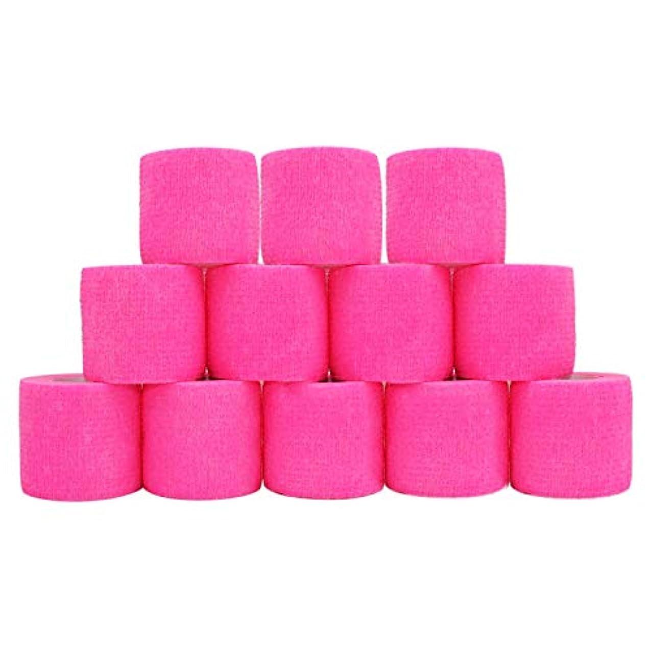 ほこり選ぶリーチ凝集包帯 柔らかくて快適 通気性が良く 防水性 5cm x 4.5 m ピンク12ロール