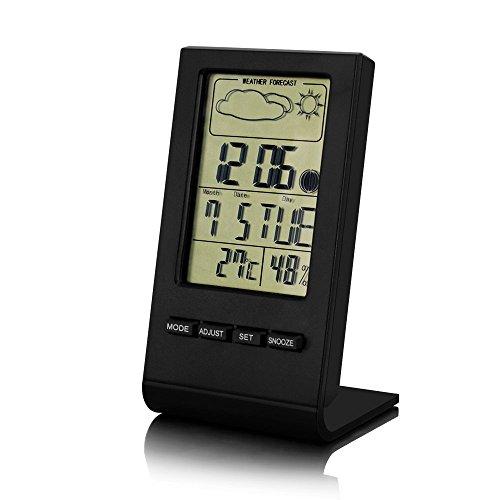 温湿度計、TechRiseデジタル温湿度計 カレンダー 時計 温度計 湿度計 アラーム 天気予報機能付き