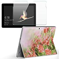 Surface go 専用スキンシール ガラスフィルム セット サーフェス go カバー ケース フィルム ステッカー アクセサリー 保護 フラワー 写真 花 フラワー 005491
