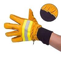 消防士のための絶縁分割牛革、ヘビーデューティワーク、溶接作業、ガーデニング防水、難燃、暖かい、高温に強い(黄色)のための将来のシールドレザー作業用手袋