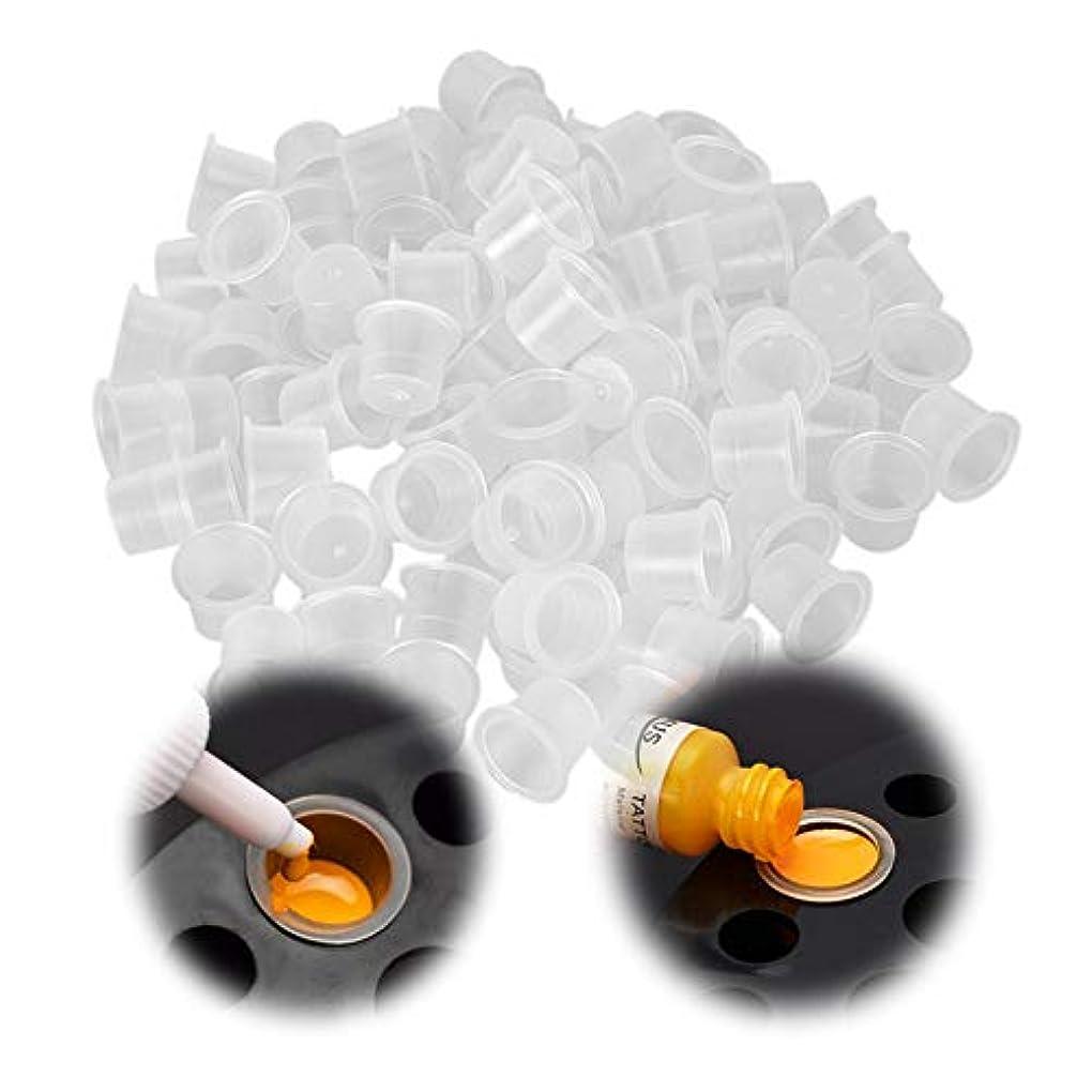 施し更新する日光使い捨てプラスチックタトゥーインクカップホワイト顔料キャップカップタトゥーアクセサリー供給タトゥーインクキャップ入れ墨用 - ブルーL