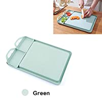 長方形小麦わらまな板、うどんこ病カッティングボード、研削ニンニクツール付き、調理台所用品アクセサリー、高品質キッチンまな板,グリーン