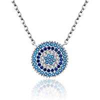 """The Kiss Blue Evil Eye 925 Sterling Silver Pendant Necklace 18"""", Clear & Blue CZ"""
