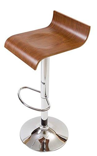 【流れるような大胆な木目使いの木製カウンターチェア】 座りやすさにもこだわった曲線デザイン プライウッドの美しいデザイン 座面のくぼみで座りやすい 昇降 360度回転 (ブラウン色)