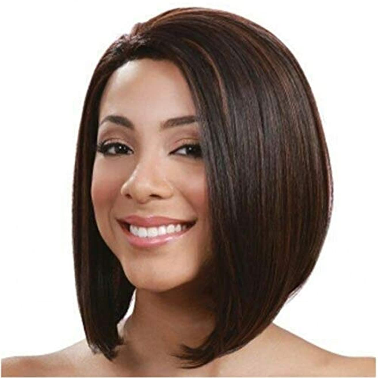 ジョージスティーブンソン白内障まさにSummerys 前髪合成耐熱性女性のヘアスタイルと短いふわふわボブ変態ストレートヘアウィッグ (Color : Navy brown)