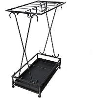 QFFL yusanjia 傘スタンド/傘収納桶/鍛鉄/家庭用傘収納棚 屋外傘立て (色 : 黒)