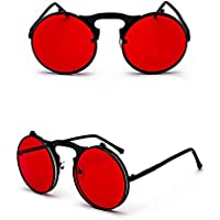 KATCOCO Vintage Round Flip Up Sunglasses for Men Women John Lennon Style Circle Sunglasses