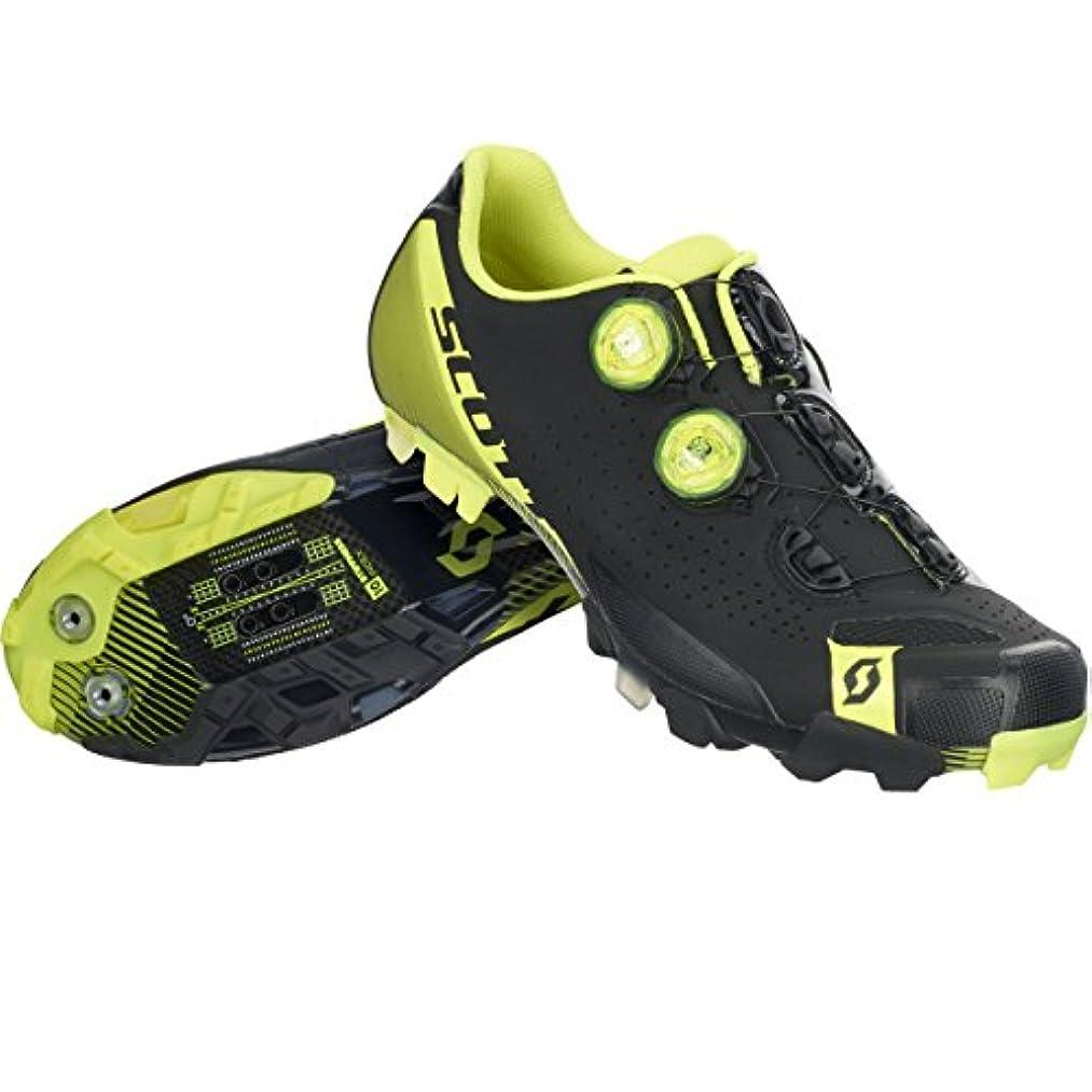 噴水ピアース物質スコット?MTB RC Shoe – Men 'sマットブラック/グロスネオンイエロー、46.0