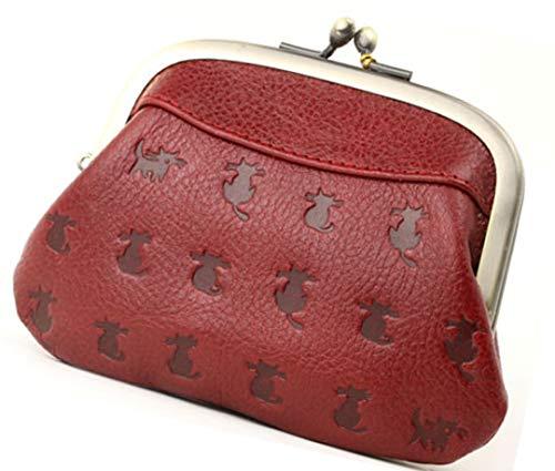 日本製 本革 4色 猫 ネコ 型押し 親子がま口財布(カラーはレッド)牛革 財布 おやこ がまぐちが使い易い お...