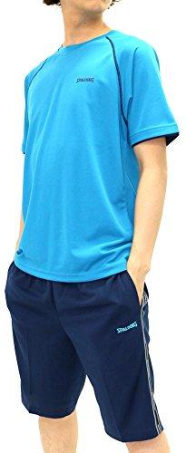 dde4c63436a333 [スポルディング] ランニングウェア 上下セット セットアップ ドライ スポーツシャツ ジャージ ショートパンツ セット メンズ ブルー M