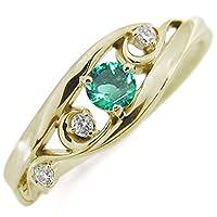 プレジュール エメラルド リング 唐草 指輪 K10イエローゴールド リング リングサイズ16号