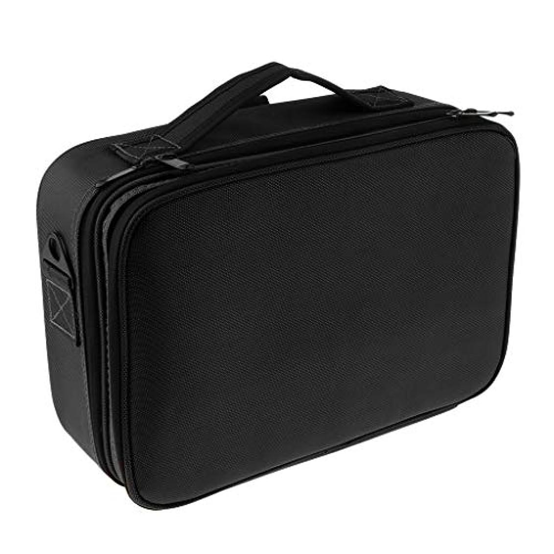 常にマッサージシフトメイクケース メイクボックス 化粧箱 コスメケース 仕切り メイク小物 雑貨收納 大容量 贈り物 - ブラックL