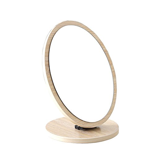 ITITENREI 鏡 スタンドミラー木製 90度角度調節 卓上化粧鏡 コスメミラー レディース メーク鏡台 復古 女性用 おしゃれ (楕円, 原木色)