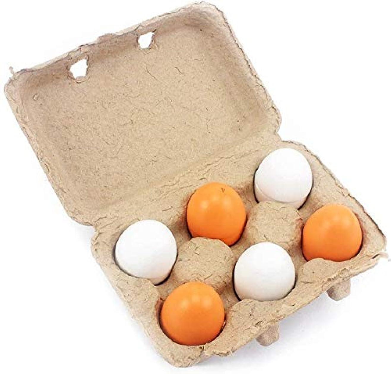 事実上タクシー信じられない子供の木製キッチンおもちゃの卵をシミュレート木製食品ふりプレイハウスキッチン食品のおもちゃ子供の誕生日プレゼントの女の子(6個木製の卵)