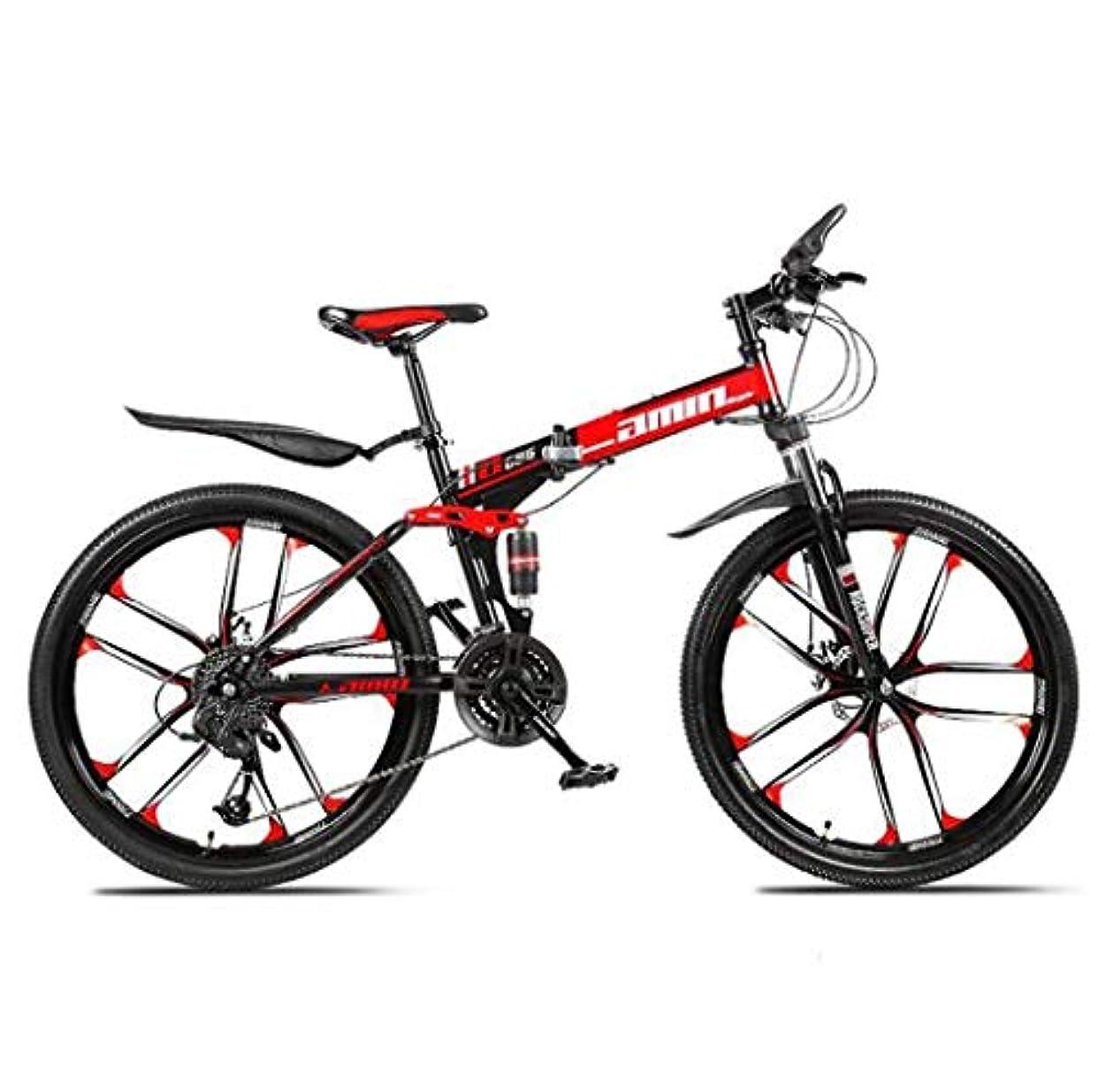 死すべき復活する原点マウンテンバイクフォールディングバイク、26インチ27速ダブルディスクブレーキフルサスペンションアンチスリップ、軽量アルミニウムフレーム、サスペンションフォーク、レッド、D