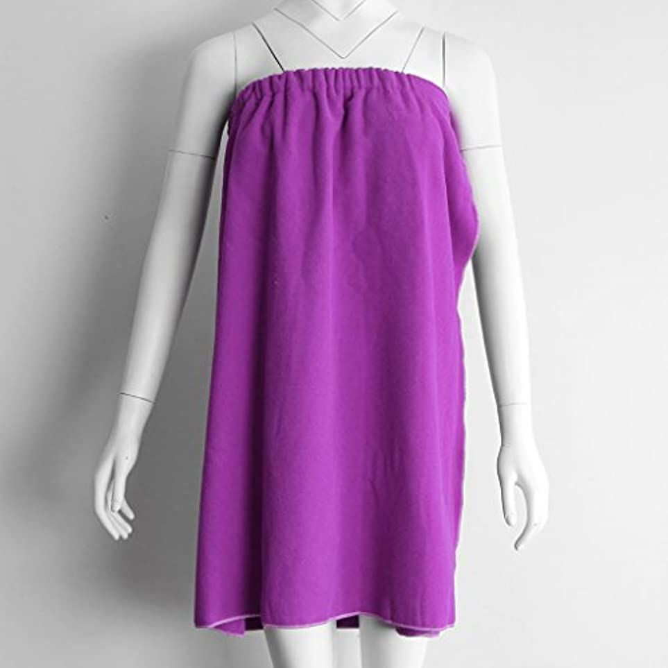 シンボル特性フォローPerfk タオルラップ バスタオル バススカート レディース シャワーラップ 約68×54cm 4色選べる - 紫