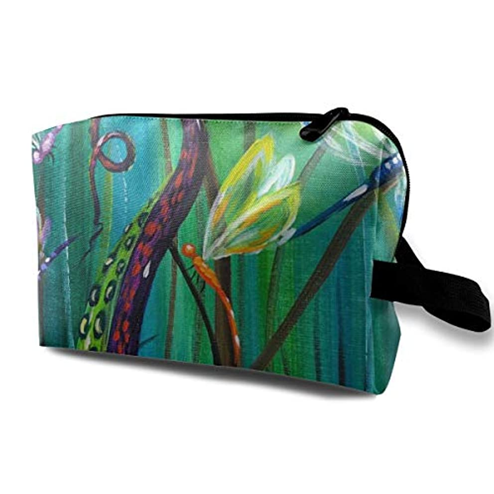 誤解する機械的に興奮Octopus Tentacle Dragonfly 収納ポーチ 化粧ポーチ 大容量 軽量 耐久性 ハンドル付持ち運び便利。入れ 自宅?出張?旅行?アウトドア撮影などに対応。メンズ レディース トラベルグッズ