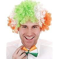Irish Afro Green White and Orange Wig