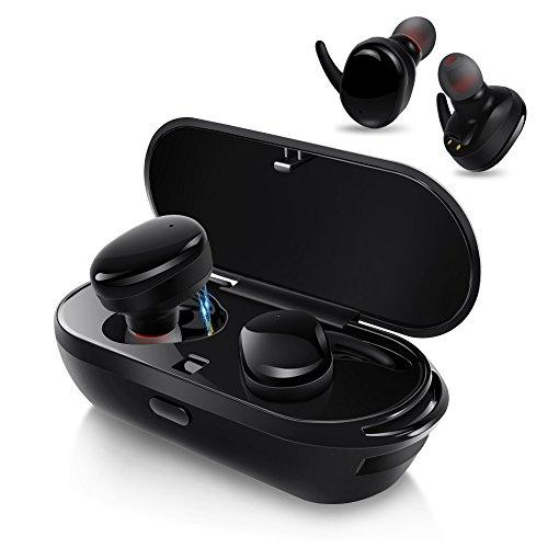 AIKAQI Bluetooth イヤホン 完全ワイヤレス イヤホン 左右分離型 片耳 両耳とも対応 スポーツ 高音質 ワンボタン設計 軽量 マイク内蔵 ハンズフリー通話 IPX5防汗防滴 充電機能搭載収納ケース ステレオヘッドセット B04 ブラック