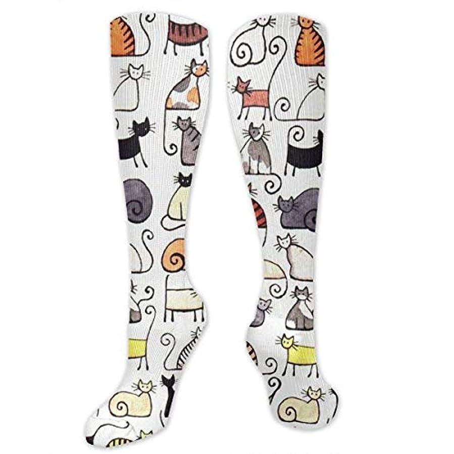 広まった不規則性推進力直訳:QRRIY男性女性漫画かわいいショートプッシー猫3 D長いクルーソックス