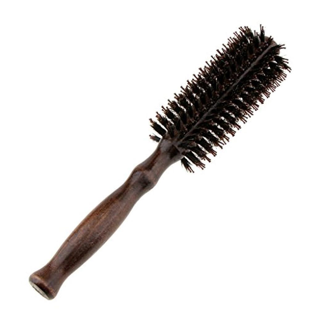 皿早い押すロールブラシ ヘアブラシ ラウンド ウッド ハンドル 理髪 美容 カール 2タイプ選べる - #1