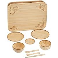 agney* お食い初め 箱膳セット 国産 天然竹製 食洗機対応 モダンタイプ