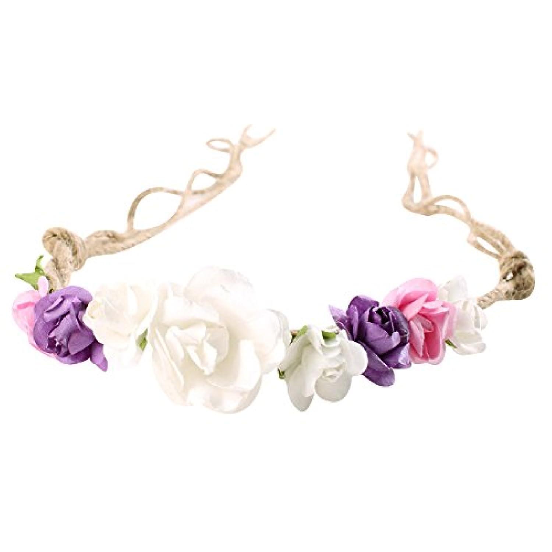 ベビーヘッドバンドガールズHeadwear美しい花ヘッドバンドHempロープヘアアクセサリー