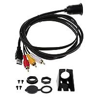 Fenteer 防水 3RCA USBマウントケーブル 3.5mm 自動車用 ダッシュケーブル 防水キャップ ネジキット 2サイズ選べる - 1メートル