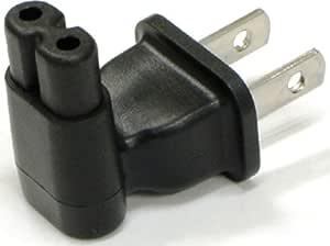 ダイヤテック 2ピンメガネ型-コンセント直挿し直角変換プラグ(ノートPC用) ブラック YL-1113L