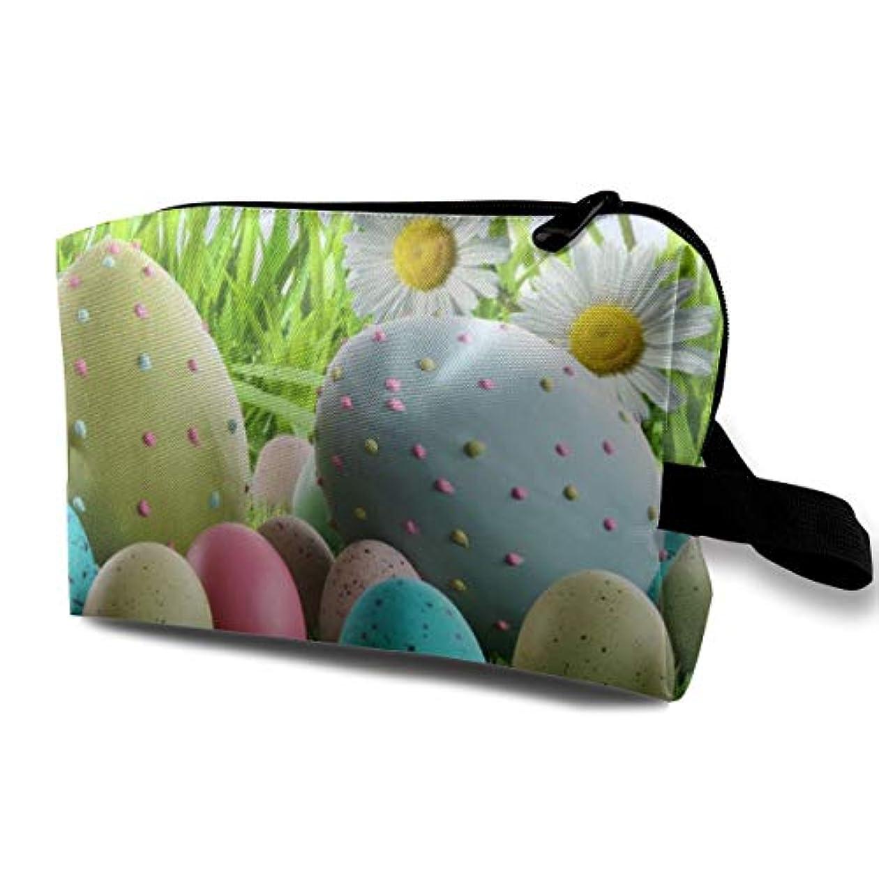 初心者慎重牛Colorfu Easter Eggs In Grass 収納ポーチ 化粧ポーチ 大容量 軽量 耐久性 ハンドル付持ち運び便利。入れ 自宅?出張?旅行?アウトドア撮影などに対応。メンズ レディース トラベルグッズ