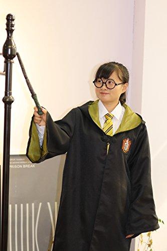 ハリーポッター ローブ + 眼鏡 + ネクタイ + 魔法の杖 4点フルセット コスチューム 男女共用 M ハッフルパフ 黄