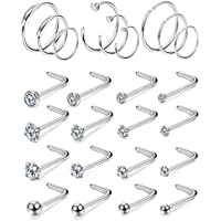 FIBO STEEL 25Pcs 20G Stainless Steel 8mm Hoop Nose Rings Stud Piercing for Men Women Jewelry