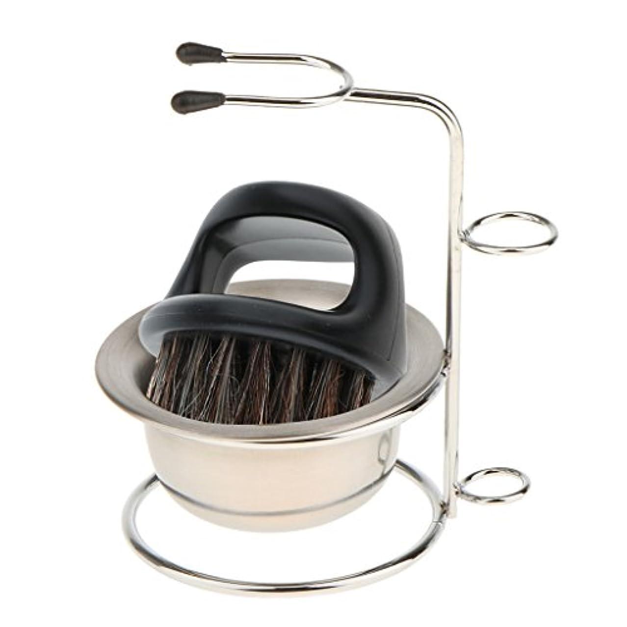 適応戸棚とHellery 3in1剛毛ヘアシェービングブラシ 石鹸ボウル安全かみそりシェービングスタンド 旅行
