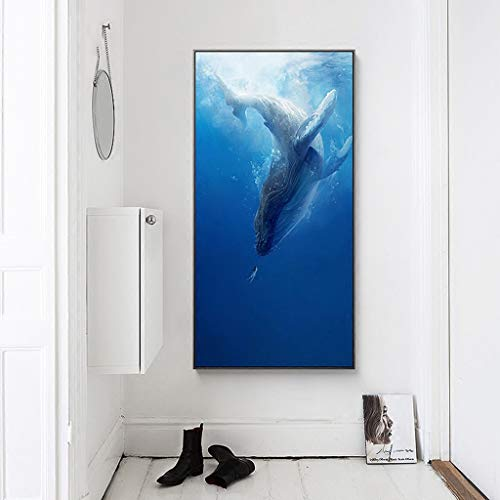 Mural Living Room Decoration Painting Sofa Background Wall Hanging Picture Frame Bed Whale Girl (Color : Blue, Size : 63 * 123cm)