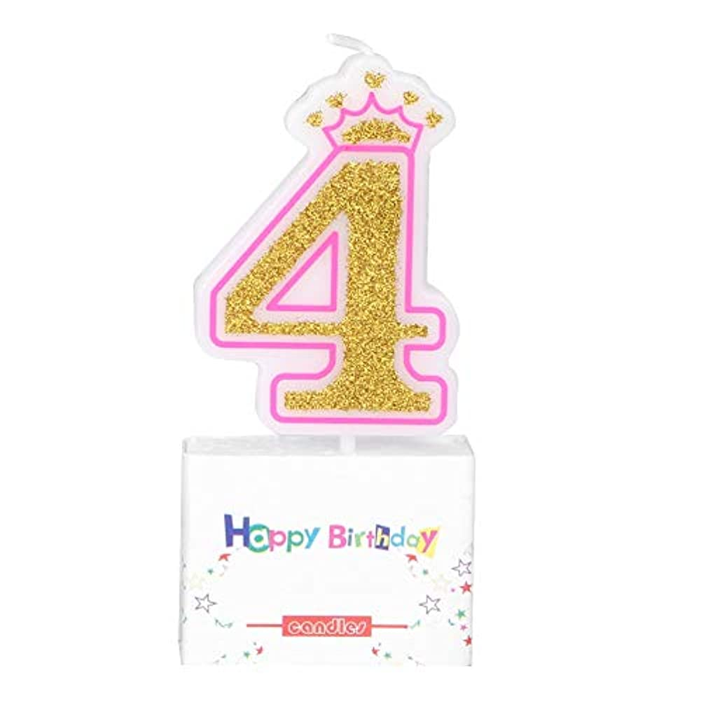 かりて柱変成器お誕生日キャンドル Vobar キャンドル バースデイ 記念日 イベント用 0~8 (サイズ : 四歳)