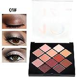 アイシャドウパレット 12色 化粧マット 化粧品ツール グロス アイシャドウパウダー (01)