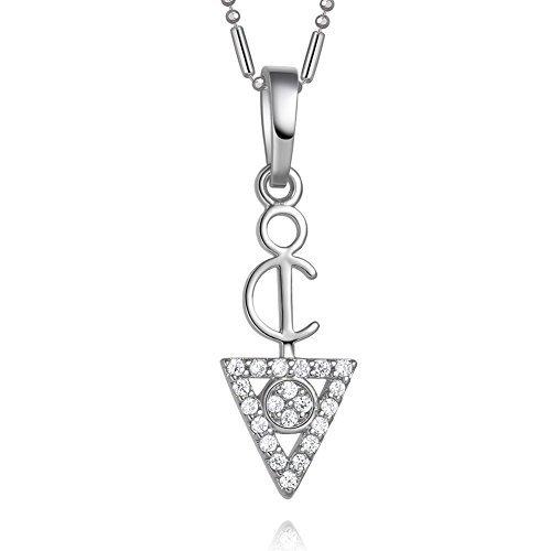 Tiny古代保護Powers Amulet三角形ピラミッドEnergiesシルバートーンクリスタル18インチネックレス