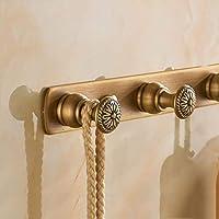Sevenpring Hooks for Home Decor コートフック 列フック レトロ 壁取り付け 洋服フック ドア 銅フック後 (カラー : A、サイズ : 5フック) Sevenpring