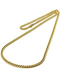 チタン 喜平ネックレス 60cm チェーン 3.3mm幅 (ゴールド イオン プレーティング加工) 金属アレルギー対応