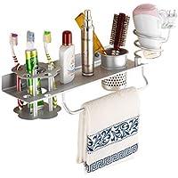 壁掛け多機能収納棚スペースアルミ歯ブラシカップホルダーヘアドライヤーラックは、バスルーム、ホテル、理髪店に適しています