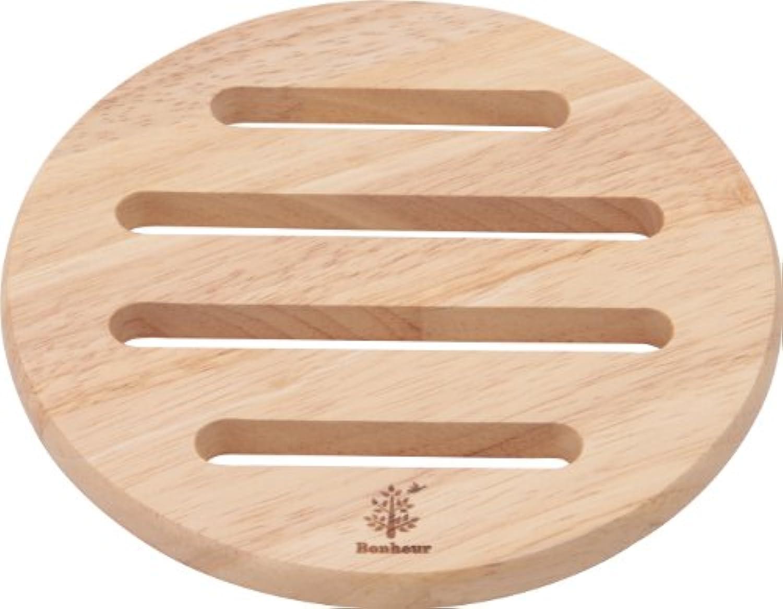 不二貿易 木製 鍋敷き ラウンド ボヌール キッチン雑貨シリーズ ナチュラル 96034