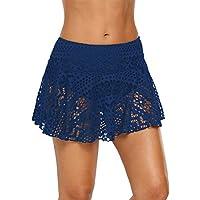 SGMWVB Womens Swim Skirt Lace Crochet Skort Bikini Bottom Swimsuit Short Skort Swimdress