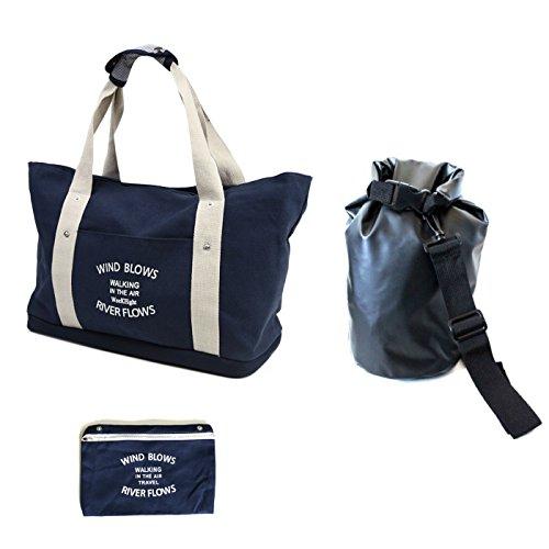 (ロセタ) スポーツ ジム トートバッグ セット< シューズ収納付きバッグ + 防水袋 > (ブルー)