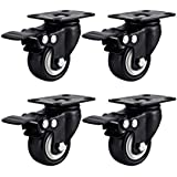 Swivel Caster Wheels Rubber Base with Top Plate & Bearing Heavy Duty with Total Lock Brake Pack of 4 Black by Online Best Ser