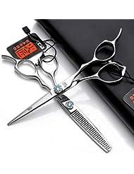 6.0インチのヘアカットはさみ、プロの理髪はさみサファイアセット、フラットはさみ/間伐はさみ/美容院や個人的な使用に適して