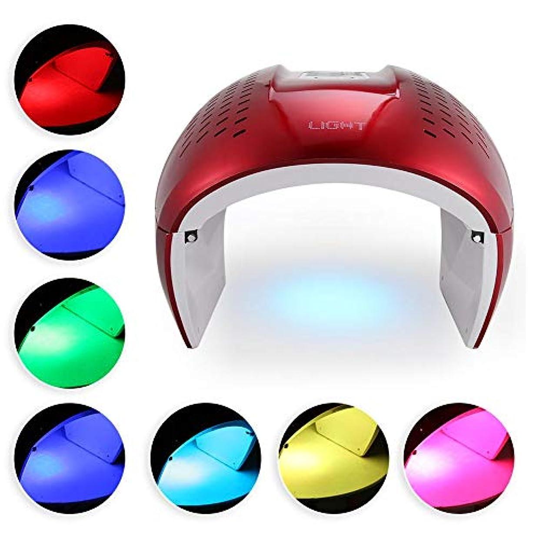ブラウザ仕立て屋中央値7色のPDT LEDレッドブルーライトフェイスマシンセラピーアンチにきびの除去顔の皮膚の若返りライトセラピー美容デバイスのマスク
