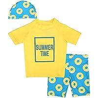 Sabolay Kid Boy UPF 50+ UV Rash Guard Set Short Sleeve Sunsuit Swimsuit with Cap