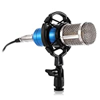 RUmfO Professional Studio Broadcasting &録音マイクセット、Cardioid Condenser Mic withショックマウントball-type anti-wind Foam Cap and XLRケーブルコンピュータ、カラオケ、ラジオand Singing ブルー A400835-01-R02