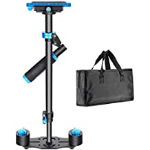 Neewer Carbon Fiber 24 inches/60 Centimeters Handheld Stabilizer with 1/4 3/8 inch Screw Quick Shoe Plate for Canon Nikon Sony and Other DSLR Camera Video DV up to 6.6 pounds/3 kilograms(Black+Blue)