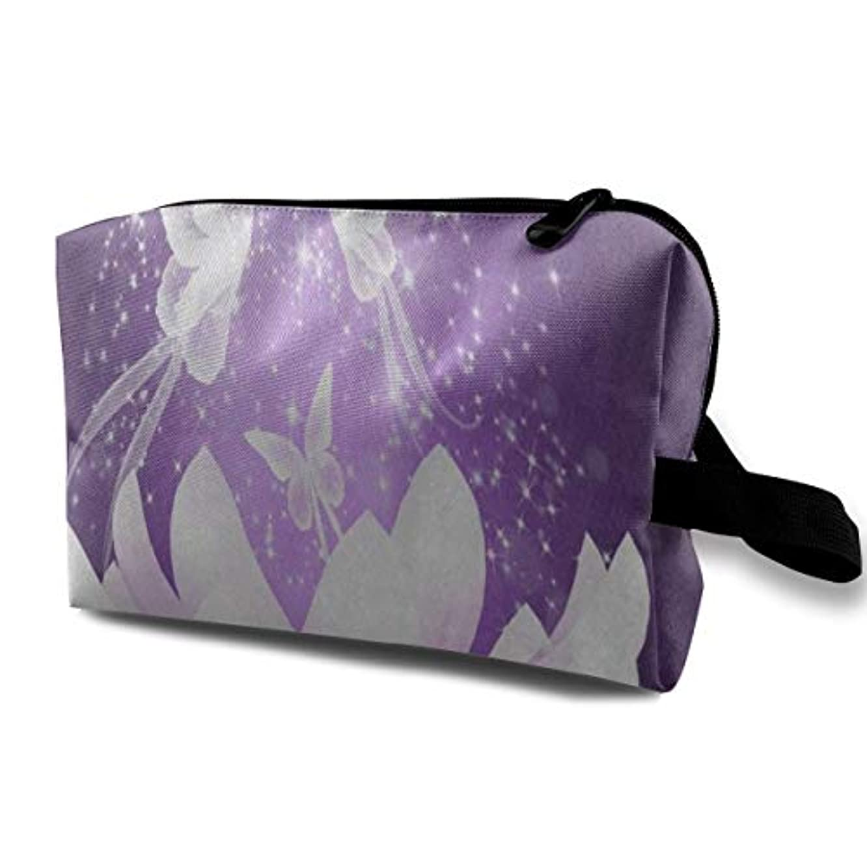 禁輸高尚なミニ美しい紫蝶蓮の花 ポーチ 旅行 化粧ポーチ 防水 収納ポーチ コスメポーチ 軽量 トラベルポーチ25cm×16cm×12cm